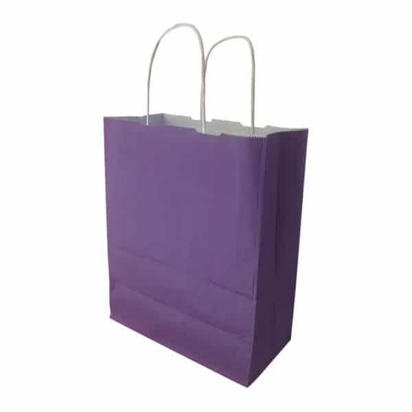 mor renk kağıt çanta burgu saplı 50 adetli pakette 18x24x9 cm