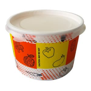 Prepared cardboard soup bowl with plastic cover also leakproof