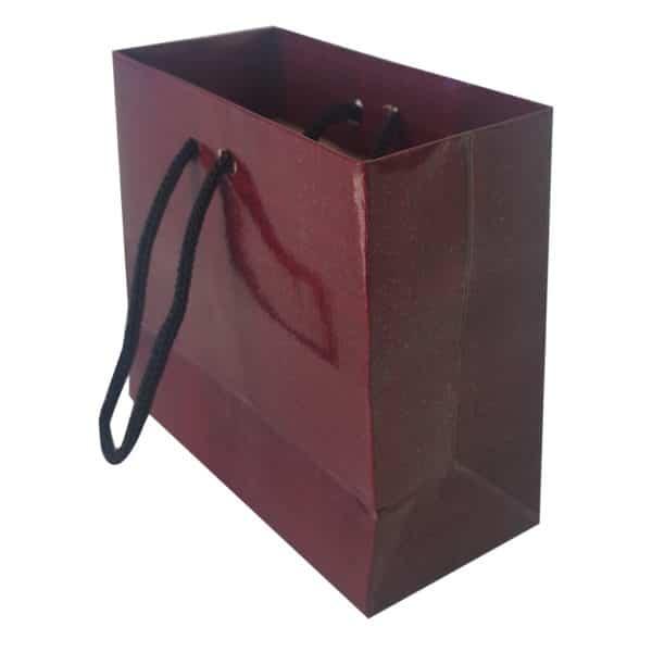 11 x 10 x 5 cm Karton çanta ipli bordo renk