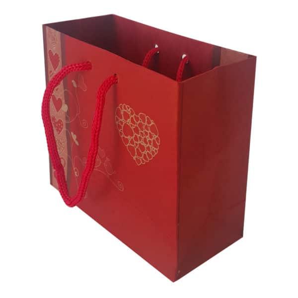 11 x 10 x 5 cm Karton çanta ipli kalp desenli kırmızı renk