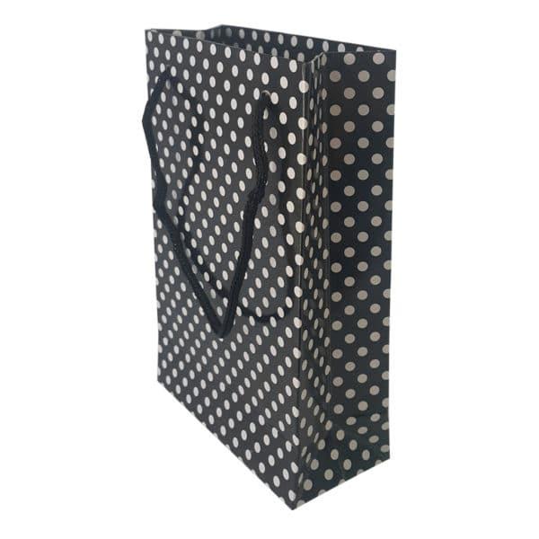 11 x 17 x 5 cm Karton çanta ipli puantiyeli siyah renk