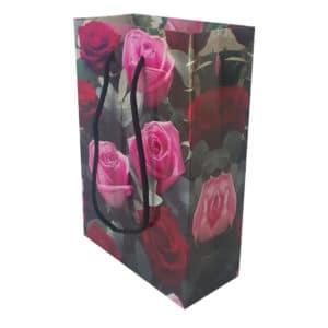 11,5 x 17 x 5 cm Karton çanta ipli gül desenli