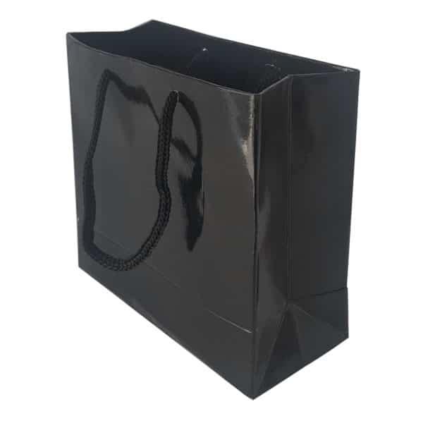 11,5 x 11,5 x 5 cm Karton çanta ipli siyah renk