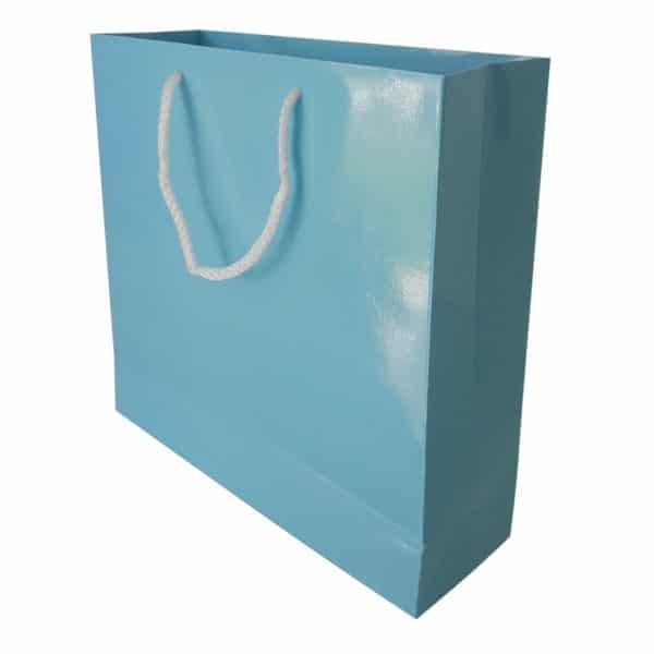 25 x 24,5 x 8 cm Karton çanta ipli mavi renk