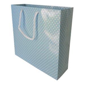 25 x 24,5 x 8 cm Karton çanta ipli puantiyeli mavi renk