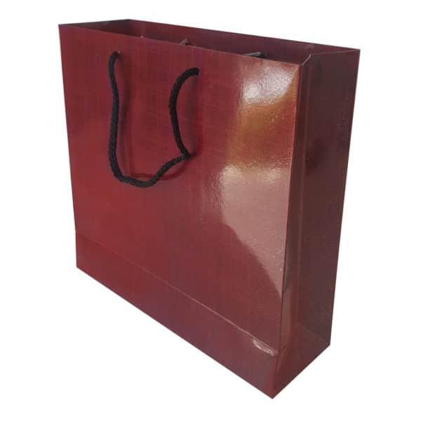 25 x 24 x 8 cm Karton çanta ipli bordo renk