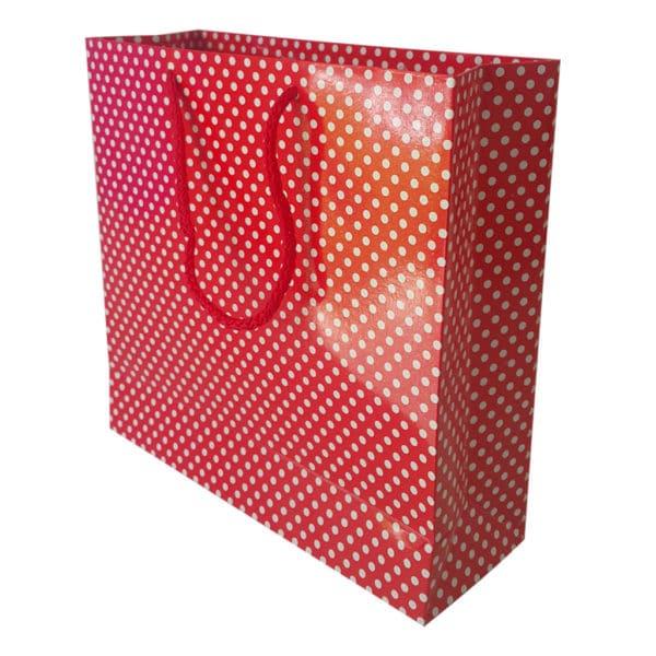 25 x 25 x 8 cm Karton çanta ipli puantiyeli kırmızı renk