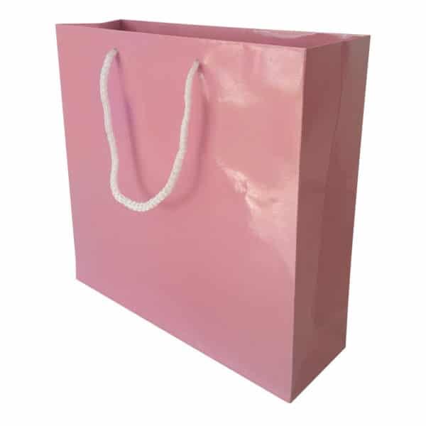 25 x 25 x 8 cm Karton çanta ipli pembe renk