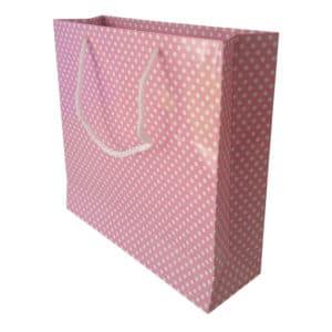 25 x 24 x 8 cm Karton çanta ipli puantiyeli pembe renk