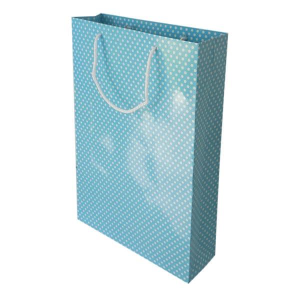 26 x 38,5 x 8 cm Karton çanta ipli puantiyeli açık mavi renk