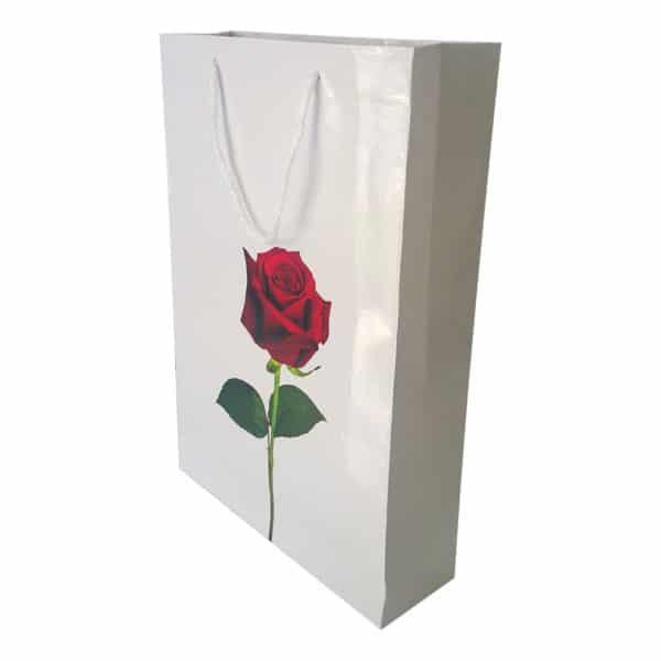 26 x 38,5 x 8 cm Karton çanta ipli gül desenli beyaz renk