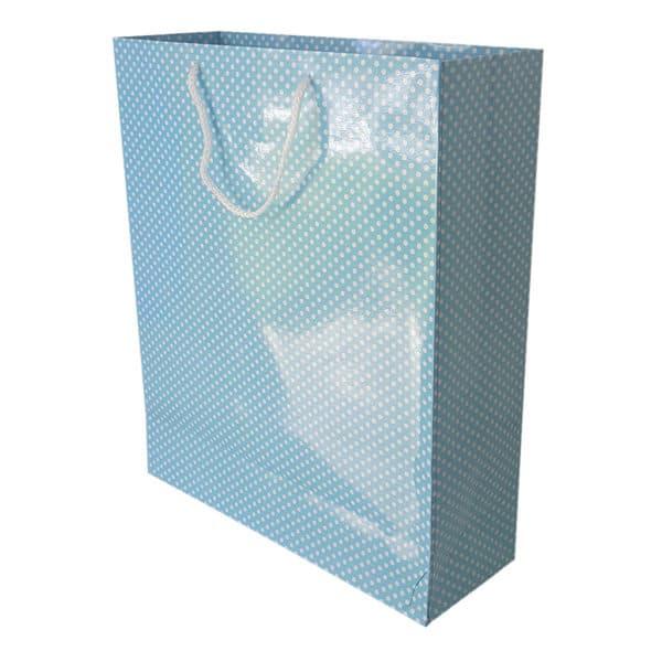 35 x 41,5 x 12,5 cm Karton çanta ipli puantiyeli açık mavi renk.