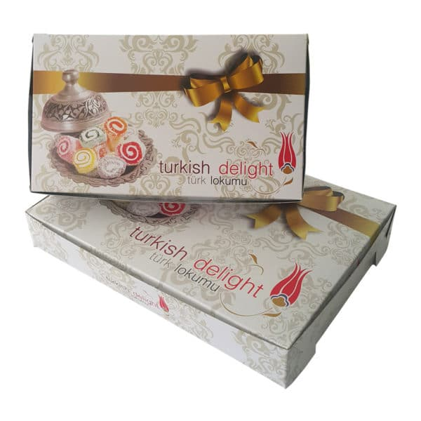 prepared turkish delight boxes with high quality cartboard structure, leakproof and special turkish deligh images printed features 1kg 500gr