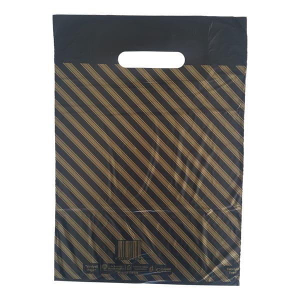 takviyeli poşet diagonal çizgili 50 adetli pakette 33 x 45 cm