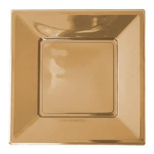 altın renk kare plastik tabak 17 cm 8 adetli pakette