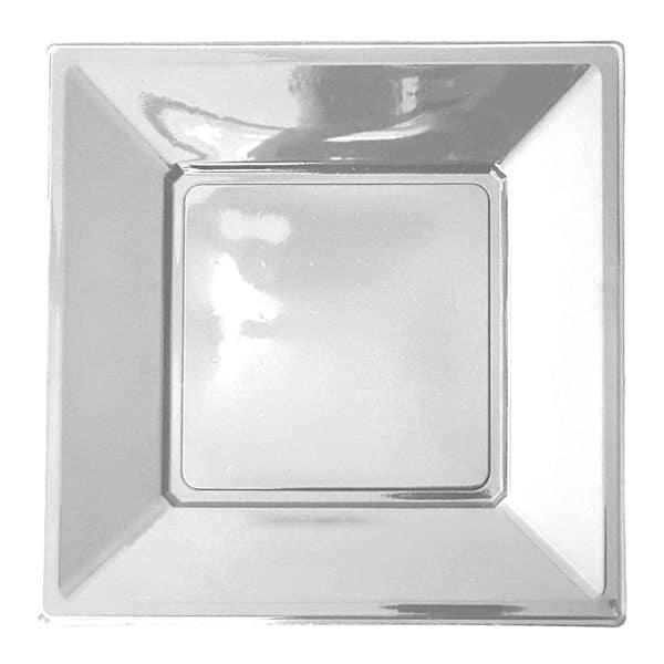 gümüş renk kare plastik tabak 17 cm 8 adetli pakette