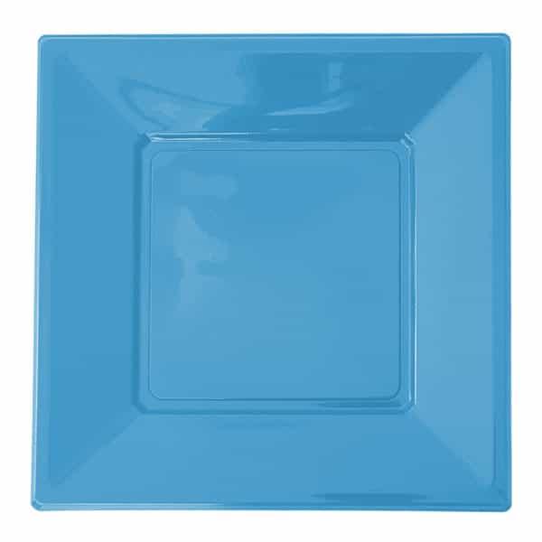 açık mavi kare plastik tabak 17 cm 8 adetli pakette
