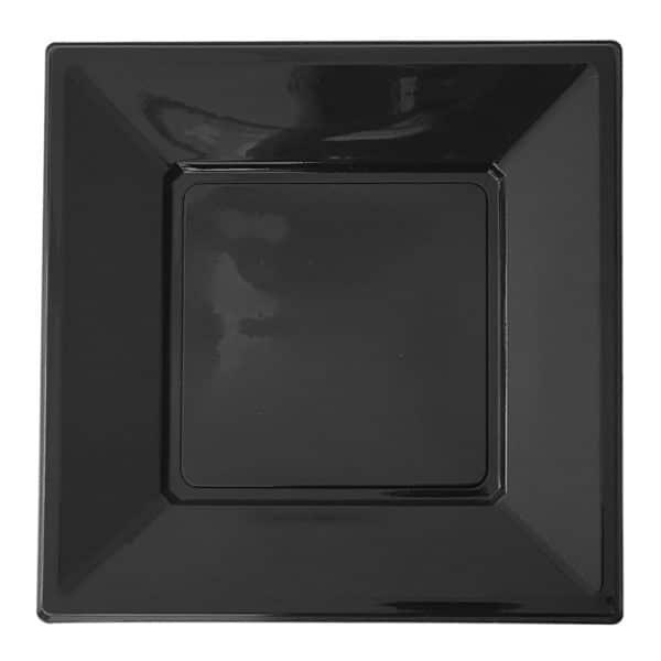 kare siyah plastik tabak 17cm 8 adetli pakette
