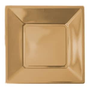 altın renk kare plastik tabak 23 cm 8 adetli pakette