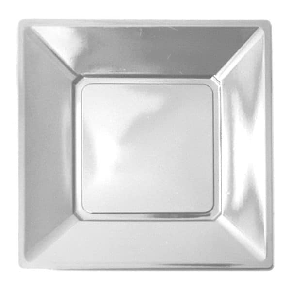 gümüş renk kare plastik tabak 23 cm 8 adetli pakette