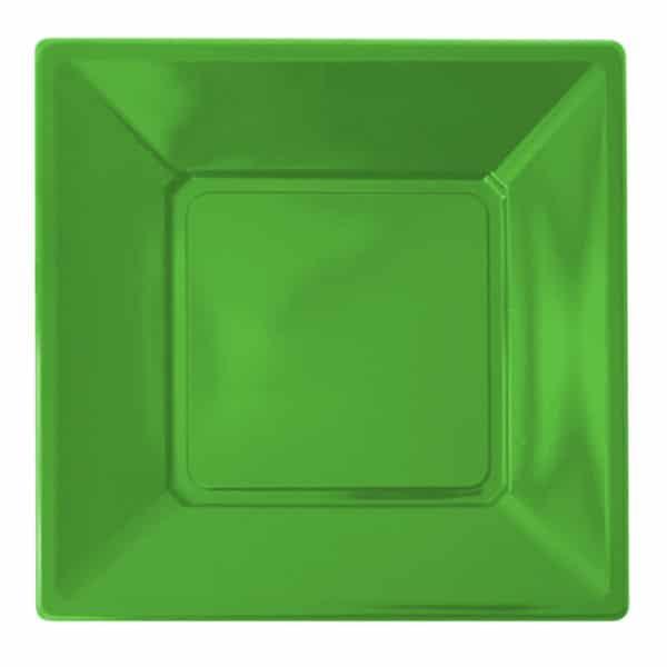 yeşil renk kare plastik tabak 23 cm 8 adetli pakette