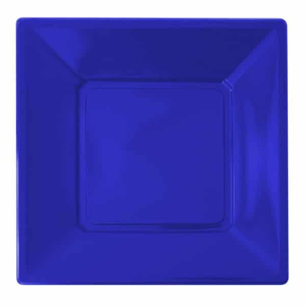 mavi renk kare plastik tabak 23 cm 8 adetli pakette