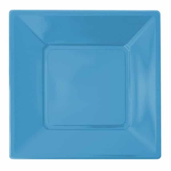 açık mavi kare plastik tabak 23 cm 8 adetli pakette