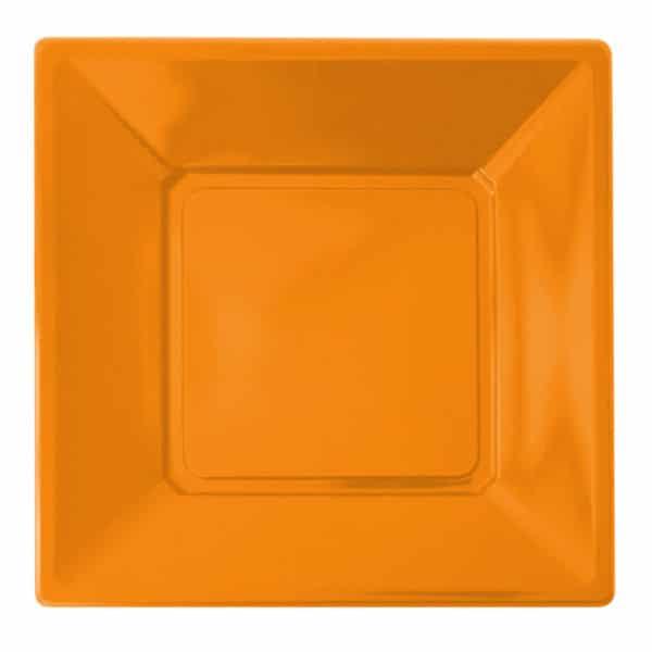 turuncu renk kare plastik tabak 23 cm 8 adetli pakette