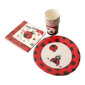uğur böceği temalı set peçete (33x33cm kare peçete 20adet) kağıt tabak (22cm-8adet) kağıt bardak (8 adet)