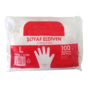 Şeffaf Eldiven Büyük Boy 100 adetli pakette