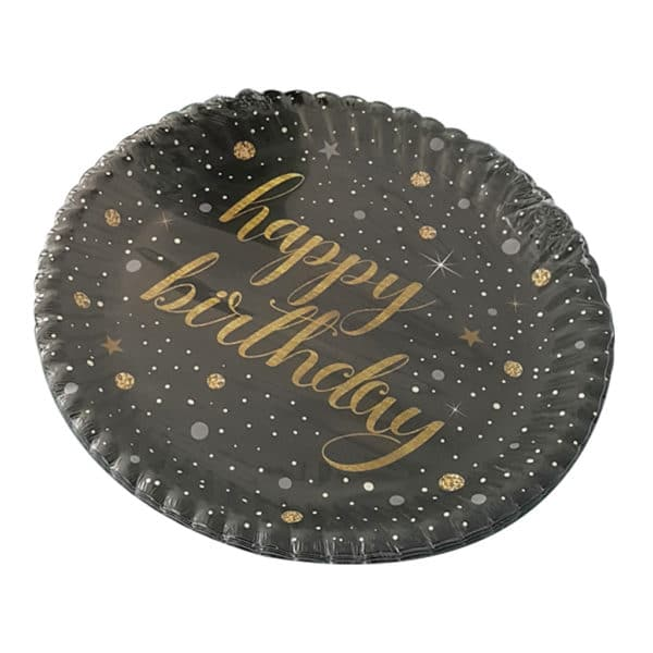 ışıltılı doğum günü temalı kağıt tabak (22cm-8adet)