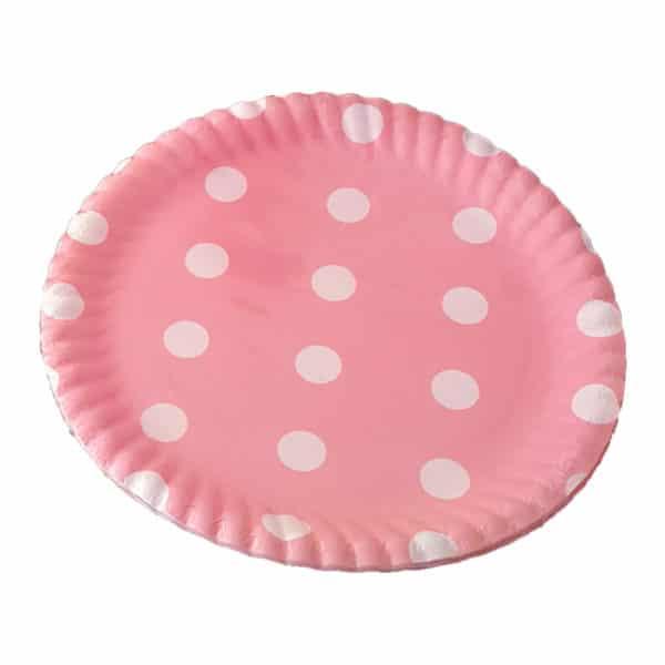pembe puantiyeli kağıt tabak (22cm-8adet)