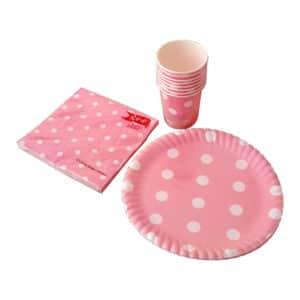pembe puantiyeli temalı set peçete (33x33cm kare peçete 20adet) kağıt tabak (22cm-8adet) kağıt bardak (8 ad