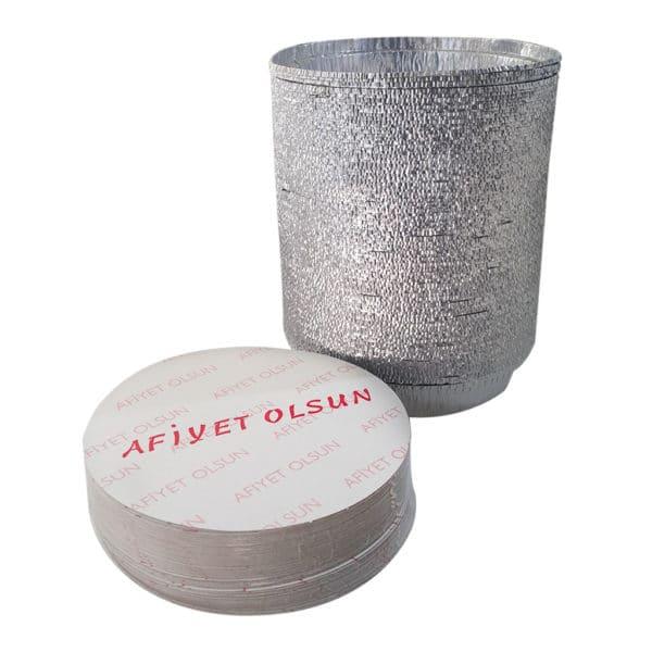 Alüminyum künefe kabı 100 adetli pakette kapak dahil