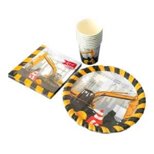 inşaat temalı set peçete (33x33cm kare peçete 20adet) kağıt tabak (22cm-8adet) kağıt bardak (8 adet)
