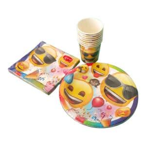 emoji parti temalı set peçete (33x33cm kare peçete 20adet) kağıt tabak (22cm-8adet) kağıt bardak (8 adet)