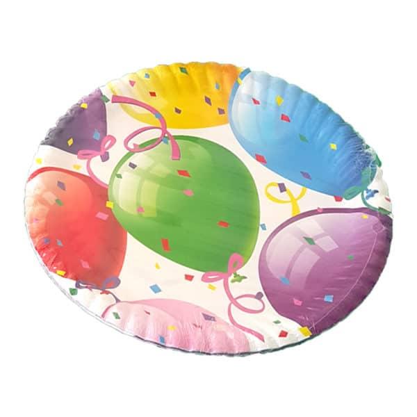 balon temalı kağıt tabak (22cm-8adet)