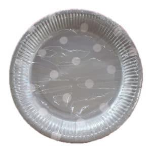 gümüş puantiyeli kağıt tabak
