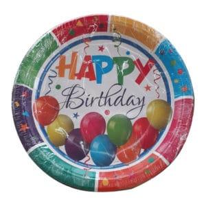 Renkli Doğum Günü Temalı Kağıt Tabak 22 cm 8 adetli pakette