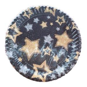 yıldızlı siyah kağıt tabak
