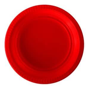 Kırmızı Plastik Tabak kullan at 22 cm 25 li
