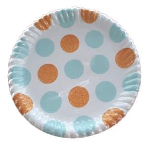 mavi puantiyeli kağıt tabak