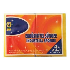 genel amaçlı bulaşık süngeri endüstriyel 4 adetli pakette 11x16 cm