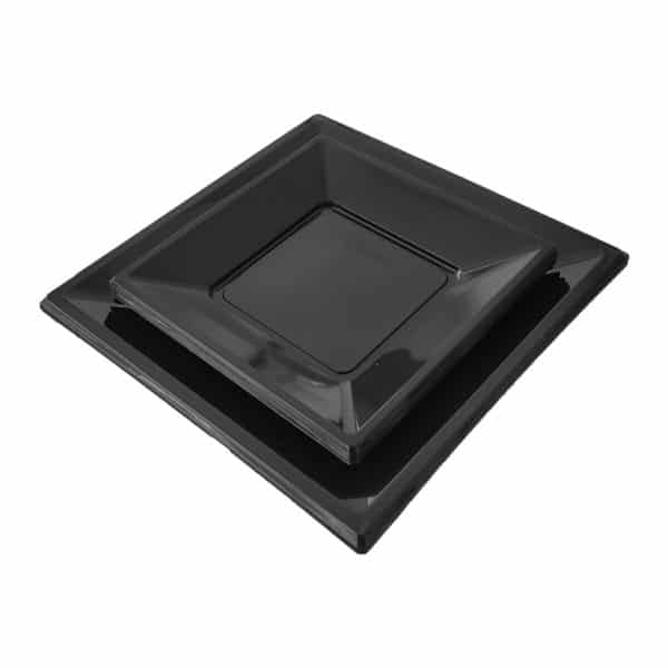 kare siyah plastik tabak büyük ve küçük boy