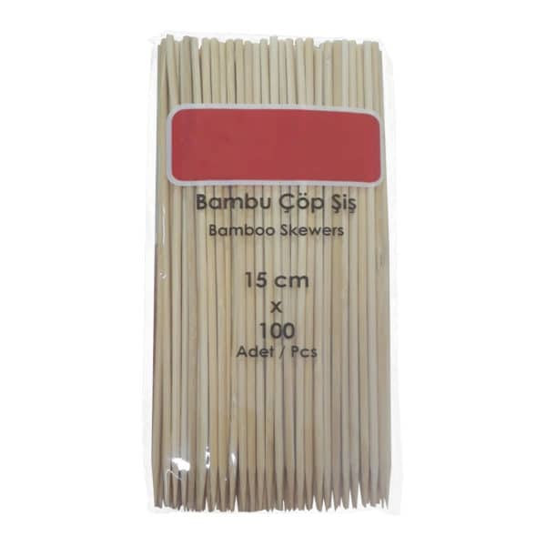 bambu çöp şiş bamboo skewers 15 cm 100 adetli pakette