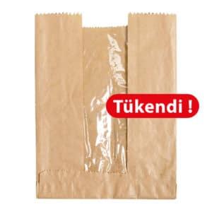 Pencereli kese kağıdı 24x35x7 cm ebatında 15 kg'lık pakette, ürün kraft renktedir ve esmer kraft kağıttan üretilmiştir