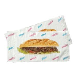 Döner sandviç poşeti 12x24,5 cm ebatta, 1000 adetli pakette. Ürün naylondan üretilmiş olup, döner görseli baskılı
