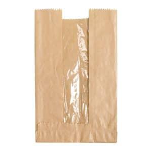 Pencereli kese kağıdı 19x33x6 cm ebatında 5 kg'lık ve 10 kg'lık pakette, ürün kraft renktedir ve şamua kağıttan üretilmiştir