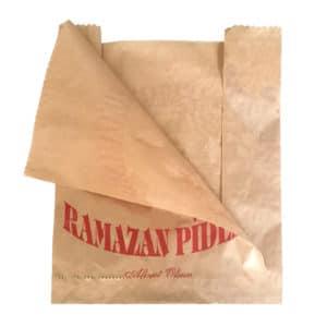 Ramazan pidesi kese kağıdı 27,5x39x10 cm ebatta, 17 kg'lık pakette. 1 kg yaklaşık 75-80 adet. Ürün şamua kraft kağıttan