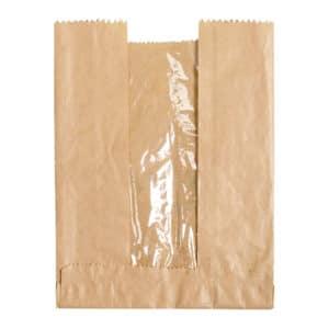 Pencereli kese kağıdı 24x33x5 cm ebatında 15 kg'lık pakette, ürün kraft renktedir ve esmer kraft kağıttan üretilmiştir